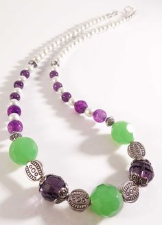 Summer green and purple beads with silver handmade beaded necklace, beadwork, Mother's Day