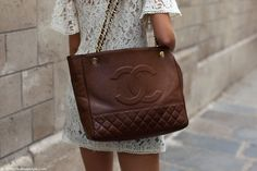 Chanel brown leather satchel