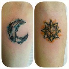 Amanda's Tie-Dye Sister Moon & Brother Sun. Created by me at my studio, Studio Bijoux, Bradford, UK.