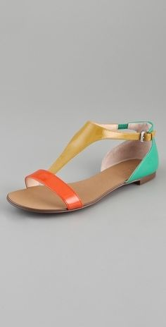 Boutique 9 Piraya Multicolor T Strap Sandals - StyleSays