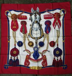 HERMES 100% silk twill Red/Blue/Gold FRONTAUX et COCARDES 90cm scarf #HERMS #Scarf
