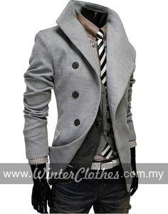 Men s Futuristic Side Button Slim Fit Middle Long Woolen Trench ...  Dressing Homme 06f261d1a6d