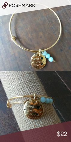 Dainty jewelry 18k gold plated charm and natural aquamarine stones  Laugh  Live Love  ???????? Jewelry Bracelets