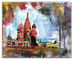 BURGSTALLER Moskau Basilius Original Gemälde Malerei Umdruck Bild Modern 40x50