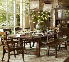 Benchwright Extending Dining Table | Pottery Barn. I like the entire dining set-up except for the non-upholstered seating- if we're going to sit down at the table, people should be comfy and want to stay!