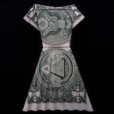 Origami Women Long DRESS Money Art Gift Handmade out of Real