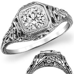 0.66ct Round Moissanite Antique Reproduction Ring