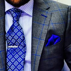 Charcoal with Royal Blue Windowpane. Fabric by Gladson. Get yours at www.bspokestyle.com