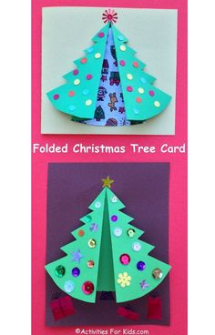 Folded Christmas Tree craft for kids. Printable Christmas tree template fold to make a pretty holiday card.