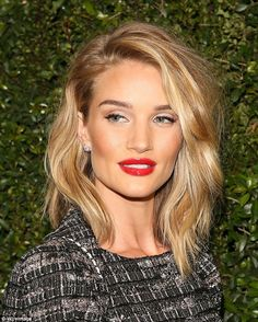 Flawless: The 27-year-old stunner styled her hair in loose waves and set off her look with...