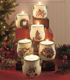 """Need decorating ideas for the home? Add the soft glow of candlelight to your holiday decor with a Set of 6 Holiday Tea Light Crocks. Each crock has a different seasonal icon on the front and a traditional """"splatterware"""" pattern on the rim and handles. Christmas China, Christmas Tea, All Things Christmas, Christmas Crafts, Merry Christmas, Decorating With Christmas Lights, Christmas Decorations To Make, Seasonal Decor, Fall Decor"""