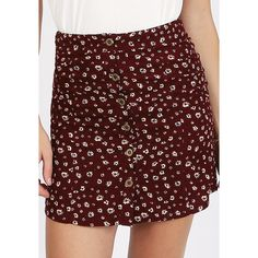 Ruche Good News Floral Skirt (€33) ❤ liked on Polyvore featuring skirts, burgundy, flower print skirt, floral print a-line skirt, red a line skirt, a line skirt and a line corduroy skirt
