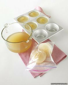 Ladle 1-cup portions of left-over stock into 1-cup muffin tins and place them in the freezer. After the stock is frozen, pop the portions out of the tin; store them in resealable freezer bags and label them with the date.