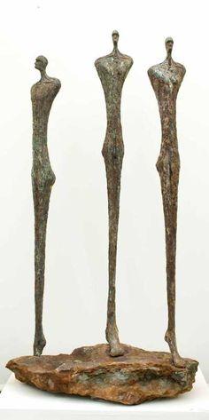 Cold cast bronze Abstract Garden Sculptures #sculpture by #sculptor Michael Speller titled: 'Balance (£ Bronze resin Abstract figurative Sculptures)' #art