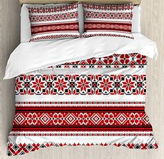 Red Duvet Cover Set, 4 Piece Full Bedding Sets Soft Microfiber Bedspread Comforter Cover and Pillow Shams, Ukrainian Needlework Illustration Ethnic Traditional Accents Arts and Crafts Theme