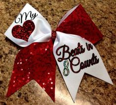 My heart beats in 8 counts cheer bow by Baddablingbows on Etsy, $20.00