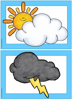 "Image and Word Cards ""weather"" Claire has read Flashcards / Wordcards on the subject ""w Weather For Kids, Preschool Weather, Preschool Worksheets, Preschool Crafts, English Activities, Activities For Kids, Images And Words, Kids Calendar, Elementary Science"