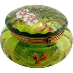 /rubylanecom/ Large Antique Green Rose Enameled glass Dresser Patch Box | Powder Jar  | #rubylane