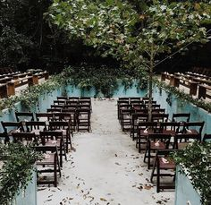Outdoor wedding ceremony surrounded by trees and water. Lords of Dogtown inspired