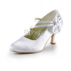 Gorgeous Satin Stiletto Heel Pumps With Satin Flower Wedding Party Women's Shoes - USD $ 54.99