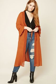 Forever 21+ - A lightweight crinkled woven cardigan featuring a front crochet trim, front self-tie closure, long bell sleeves with crochet inserts, and side slits.