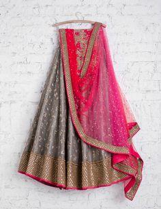 SwatiManish Lehengas SMF LEH 219 17 Soft grey lehenga with shocking pink and red shaded dupatta and floral threadwork sequin blouse Indian Gowns, Indian Attire, Indian Wear, Indian Outfits, Indian Clothes, Desi Clothes, Pakistani Dresses, New Lehenga, Indian Lehenga