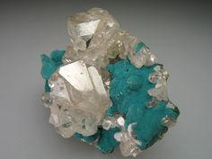 "Cerussite twinned ""stars"" and prisms crystals on botryoidal blue-green Rosasite / Tsumeb Mine, Namibia"