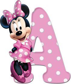 Alfabeto Decorativo: Alfabeto - Minnie Rosa com Bolinhas 1 - PNG - Completo - Maiúsculas e Minúsculas - Preço R$ 5,00 Reais.