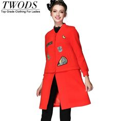 S- 5xl Casual Baseball Style Winter Wool Coats For Warm Long Overcoat Abrigos Mujer Red