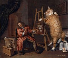 Famous Paintings Improved by Cats    :::   Collier, Self-Portrait with Vanitas     :::  Amazing.