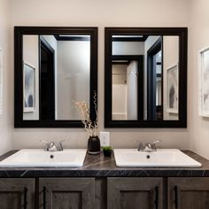 His And Hers Sinks, Jack And Jill Bathroom, Mobile Homes, Master Bathroom, Hate, New Homes, Mirror, Detail, Furniture
