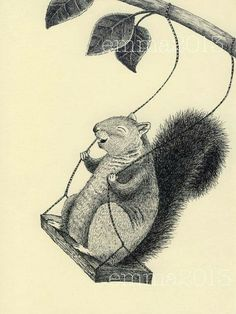 Squirrels just wanna have fun,  Oh, squirrels just wanna have fun!    (sung by Cyndi Lauper) Squirrel Illustration, Cute Illustration, Squirrel Appreciation Day, Woodland Creatures, Woodland Animals, Forest Animals, Rodents, Squirrel Art, Squirrel Tattoo