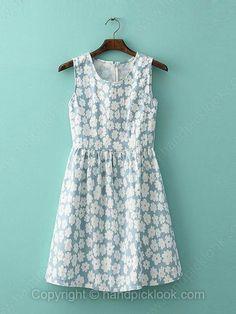 Blue Round Neck Sleeveless Floral Print Dress -$20.99