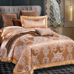 Designer Bedding Sets Luxury Bedding Set Jacquard Bedding Sets Bed Sheet #DesignerBedSheets #LuxuryBedding