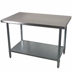 "Economy Stainless Steel Work Table 24x60 by FSEQ INTERNATIONAL. $169.99. -- NSF Economy Work Table -- 34"" Working Height -- Adjustable Galvanized Undershelf --18 Ga. 430 Stainless Top -- Galvanized Legs w adjustable plastic feet -- 1 Year Warranty"