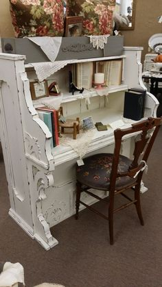 Repurposed Vintage Piano into a Gorgeous Desk - the shabby white really highlights the details in the piano structure - love this!!