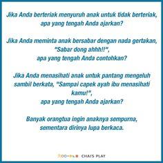Satu sehari, tips permainan & pengasuhan anak, hanya di Chai's Play Parenting Quotes, Kids And Parenting, Religion Quotes, Charts For Kids, Quotes Indonesia, Muslim Quotes, Marriage Life, Quotes For Kids, Kids Education