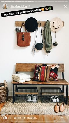 Door Entryway, Entryway Bench, How To Make Pillows, Home Goods, Doors, Rugs, House, Furniture, Home Decor