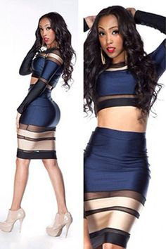 Multi-tone Bandage Long-sleeve two piece Skirt Set