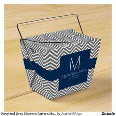 Navy and Gray Chevron Pattern Monogram Wedding Favor Boxes