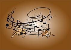 Nuty,liście,muzyka,ilustracja