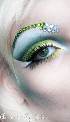 Green and blue  eye makeup