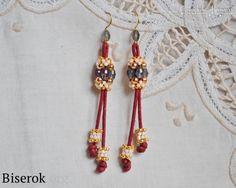 Earrings of beads on a string, long earrings brush, a master class, u, MC scheme