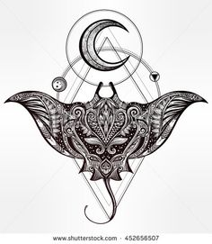 Ornate Stingray Fish in tattoo style. Isolated vector illustration.                                                                                                                                                                                 More