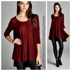 Last one! 3/4 Sleeve Burgundy Tunic • Large New Arrival! Beautiful 3/4 sleeve burgundy tunic Available in sizes S, M, L Leggings also for sale in my closet! Round neck, high-low flowy top Made with lightweight knit fabric that is flattering, drapes well, and has good stretch 61% Poly/33%Rayon/6% spandex Made in the USA! ✅I discount bundles✅ No trades No pp Katana Couture  Tops Tunics
