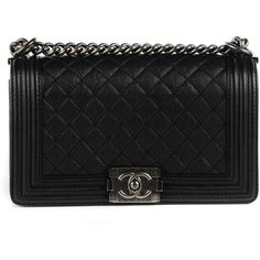 CHANEL Calfskin Quilted Medium Boy Flap Black ❤ liked on Polyvore featuring bags, handbags, shoulder bags, accessories, bolsas, carteras, purses, handbags shoulder bags, quilted handbags and man shoulder bag