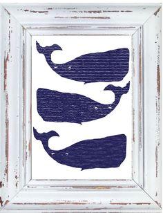 Moby Whale Art Print Coastal Wall Decor Whale by DIGIArtPrints, $10.00
