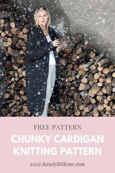 Scroll all the way to the bottom for the free Chunky cardigan knitting pattern Free Knitting Patterns For Women, Beginner Knitting Patterns, Chunky Knitting Patterns, Knitting For Beginners, Knit Patterns, Fall Knitting, Knit Cardigan Pattern, Chunky Knit Cardigan, Oversized Cardigan
