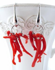 Red coral earrings, dangle earrings, Torre del Greco coral jewelry, sterling silver 925 jewels, italian jewellery, christmas gift, gioielli by Sofiasbijoux on Etsy