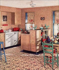 Beige patterned linoleum flooring with great striping design in a mid century kitchen 1930s Kitchen, Vintage Kitchen, House Design Photos, Cool House Designs, Retro Home Decor, Vintage Decor, 1940s Decor, Vintage Ads, Pyrex